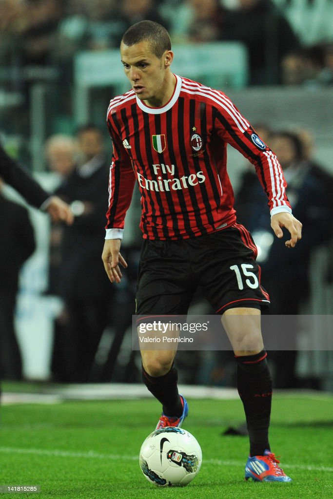 <a gi-track='captionPersonalityLinkClicked' href=/galleries/search?phrase=Djamel+Mesbah&family=editorial&specificpeople=6693283 ng-click='$event.stopPropagation()'>Djamel Mesbah</a> of AC Milan in action during the Tim Cup match between Juventus FC and AC Milan at Juventus Arena on March 20, 2012 in Turin, Italy.