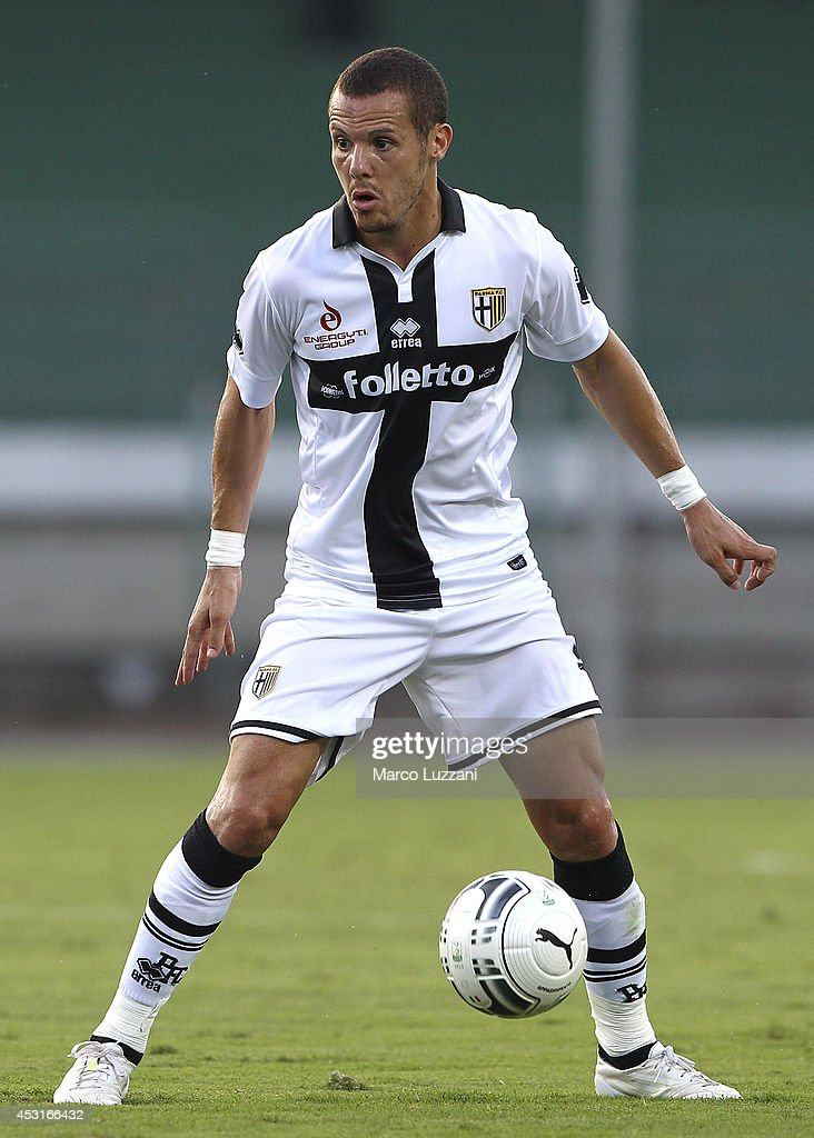 <a gi-track='captionPersonalityLinkClicked' href=/galleries/search?phrase=Djamel+Mesbah&family=editorial&specificpeople=6693283 ng-click='$event.stopPropagation()'>Djamel Mesbah</a> of Parma FC in action during a pre-season tournament match between Parma FC, US Avellino and FC Girondins de Bordeaux at Stadio Partenio on August 2, 2014 in Avellino, Italy.