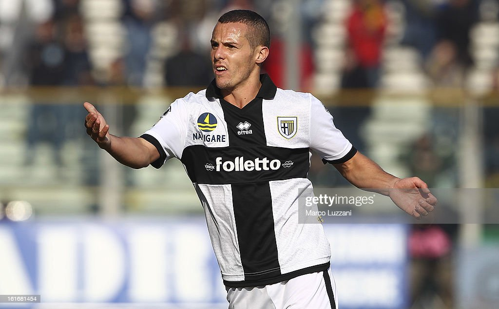 <a gi-track='captionPersonalityLinkClicked' href=/galleries/search?phrase=Djamel+Mesbah&family=editorial&specificpeople=6693283 ng-click='$event.stopPropagation()'>Djamel Mesbah</a> of Parma FC looks on during the Serie A match between Parma FC and Genoa CFC at Stadio Ennio Tardini on February 10, 2013 in Parma, Italy.
