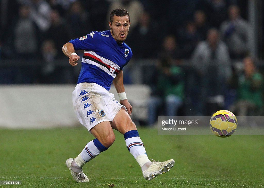 <a gi-track='captionPersonalityLinkClicked' href=/galleries/search?phrase=Djamel+Mesbah&family=editorial&specificpeople=6693283 ng-click='$event.stopPropagation()'>Djamel Mesbah</a> of UC Sampdoria in action during the Serie A match between UC Sampdoria and AC Milan at Stadio Luigi Ferraris on November 8, 2014 in Genoa, Italy.