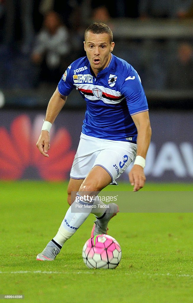 <a gi-track='captionPersonalityLinkClicked' href=/galleries/search?phrase=Djamel+Mesbah&family=editorial&specificpeople=6693283 ng-click='$event.stopPropagation()'>Djamel Mesbah</a> of UC Sampdoria in action during the Serie A match between UC Sampdoria and AS Roma at Stadio Luigi Ferraris on September 23, 2015 in Genoa, Italy.