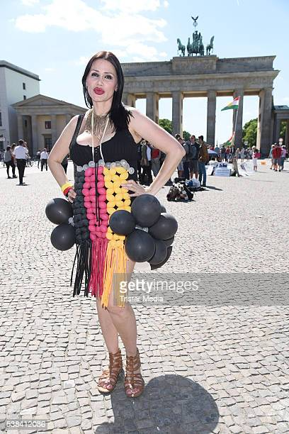 Djamila Rowe attends the EM 2016 Promo shooting on June 06 2016 in Berlin Germany