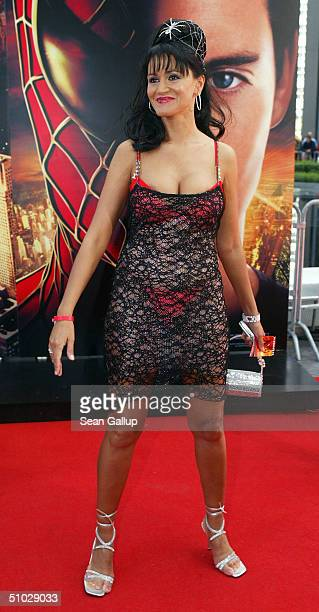 Djamila Rowe attends the German premiere of 'Spiderman 2' at the Sony Center on July 6 2004 in Berlin Germany
