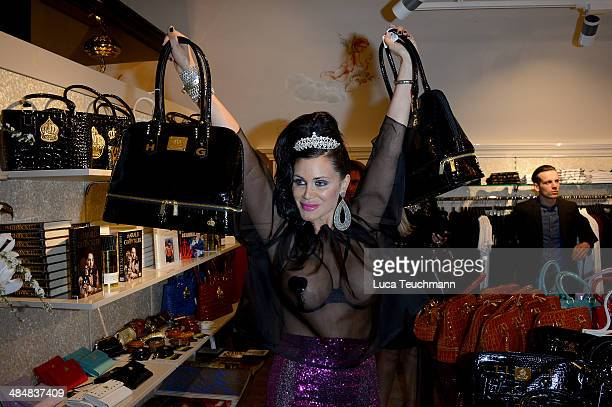 Djamila Rowe attends the Harald Gloeoeckler Store Opening on April 14 2014 in Berlin Germany