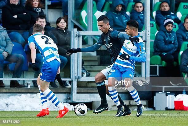Django Warmerdam of PEC Zwolle Anwar El Ghazi of Ajax Hachim Mastour of PEC Zwolleduring the Dutch Eredivisie match between PEC Zwolle and Ajax...
