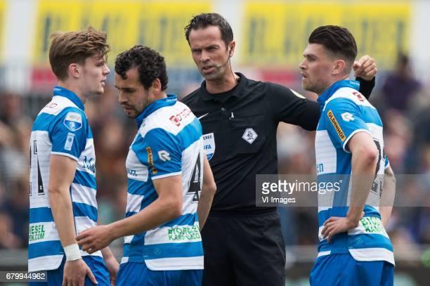 Django Warmerdam of PEC Zwolle Dirk Marcellis of PEC Zwolle referee Bas Nijhuis Danny Holla of PEC Zwolleduring the Dutch Eredivisie match between...