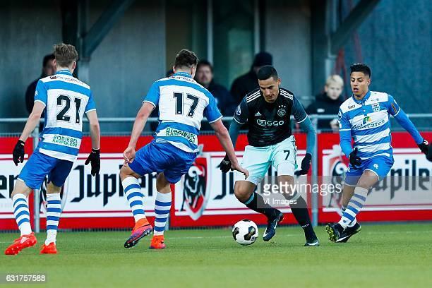 Django Warmerdam of PEC Zwolle Josef Kvida of PEC Zwolle Anwar El Ghazi of Ajax Hachim Mastour of PEC Zwolleduring the Dutch Eredivisie match between...