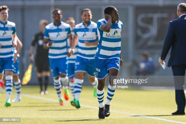 Django Warmerdam of PEC Zwolle Kingsley Ehizibue of PEC Zwolle Ouasim Bouy of PEC Zwolle Queensy Menig of PEC Zwolleduring the Dutch Eredivisie match...