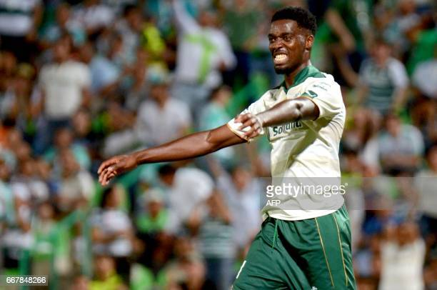 Djaniny Tavares of Santos gestures during their match against Monterrey for thr Mexican Clausura 2017 Tournament at TSM Corona stadium on April 12 in...