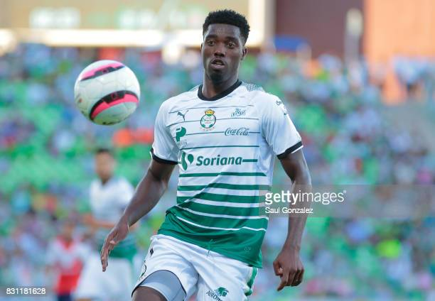 Djaniny Tavares of Santos looks the ball during the 4th round match between Santos Laguna and Veracruz as part of the Torneo Apertura 2017 Liga MX on...