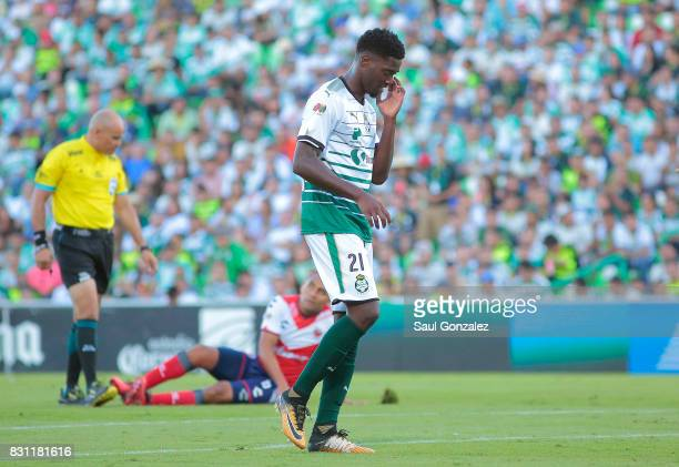 Djaniny Tavares of Santos reacts during the 4th round match between Santos Laguna and Veracruz as part of the Torneo Apertura 2017 Liga MX on August...
