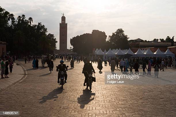 Djemaa el Fna Square and Koutoubia (Great) Mosque at sunset.