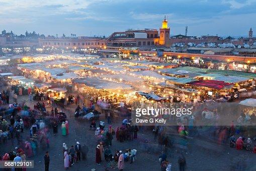 Djemaa El Fna Square at dusk, Marrakech, Morocco