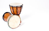 Djembe drum isolated on white - Background, copy space