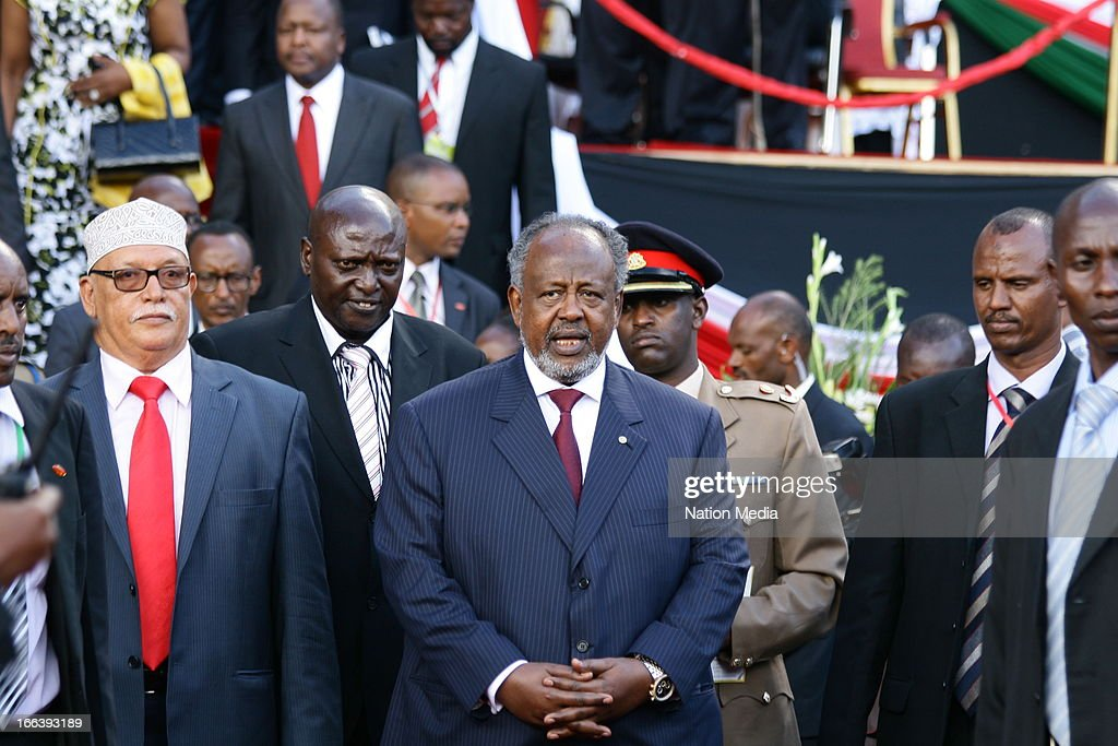 Djibouti President Ishmail Omar at the Inauguration ceremony of President Uhuru Kenyatta on April 9, 2013 in Nairobi, Kenya. Kenyatta received masses of support from the citizens of Kenya despite being under investigation for crimes against humanity.