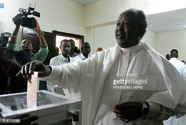 Djibouti's incumbant President Ismail Omar Guelleh casts his ballot at a polling station during the presidential election in Djibouti on April 8 2016...