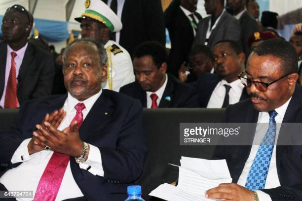 Djibouti's President Ismail Omar Guelleh and Ethiopian Prime Minister Hailemariam Desalegn attend the inauguration ceremony of Somalia's new...
