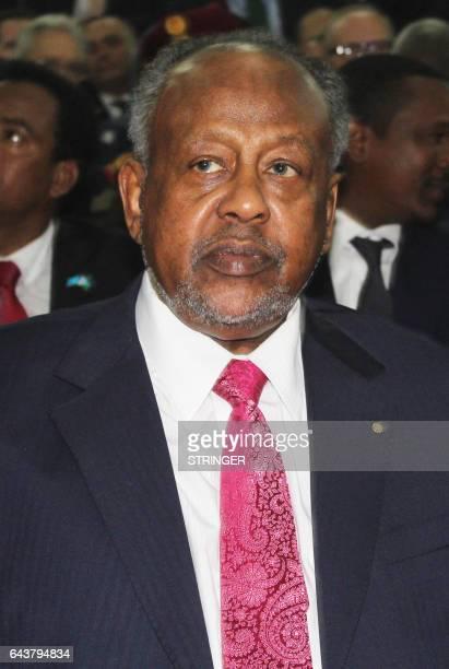 Djibouti's President Ismail Omar Guelleh attends the inauguration ceremony of Somalia's new President Mohamed Abdullahi Mohamed at the Mogadishu...