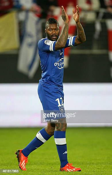 Djibril Cisse of Bastia plays his first match with his new club during the french Ligue 1 match between Valenciennes FC and SC Bastia at the Stade du...
