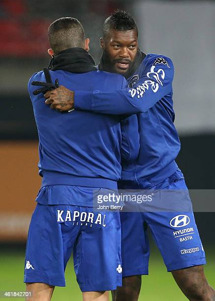 Djibril Cisse of Bastia warms up prior to the french Ligue 1 match between Valenciennes FC and SC Bastia at the Stade du Hainaut on January 11 2014...