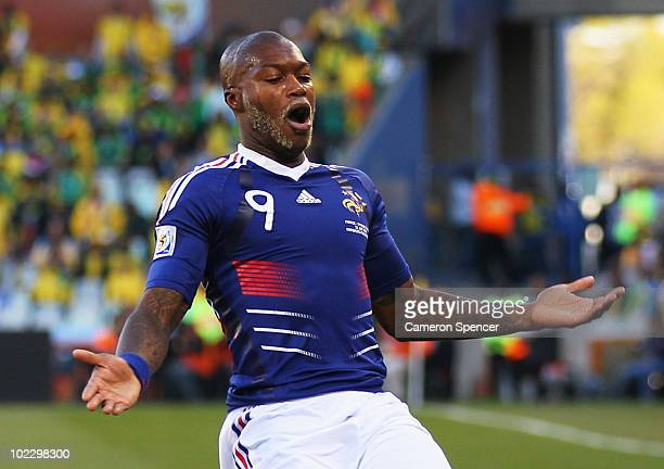 Djibril Cisse of France gestures during the 2010 FIFA World Cup South Africa Group A match between France and South Africa at the Free State Stadium...