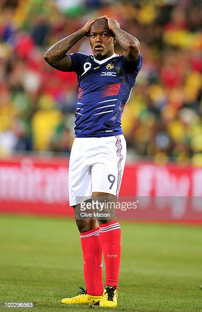 Djibril Cisse of France looks frustrated during the 2010 FIFA World Cup South Africa Group A match between France and South Africa at the Free State...