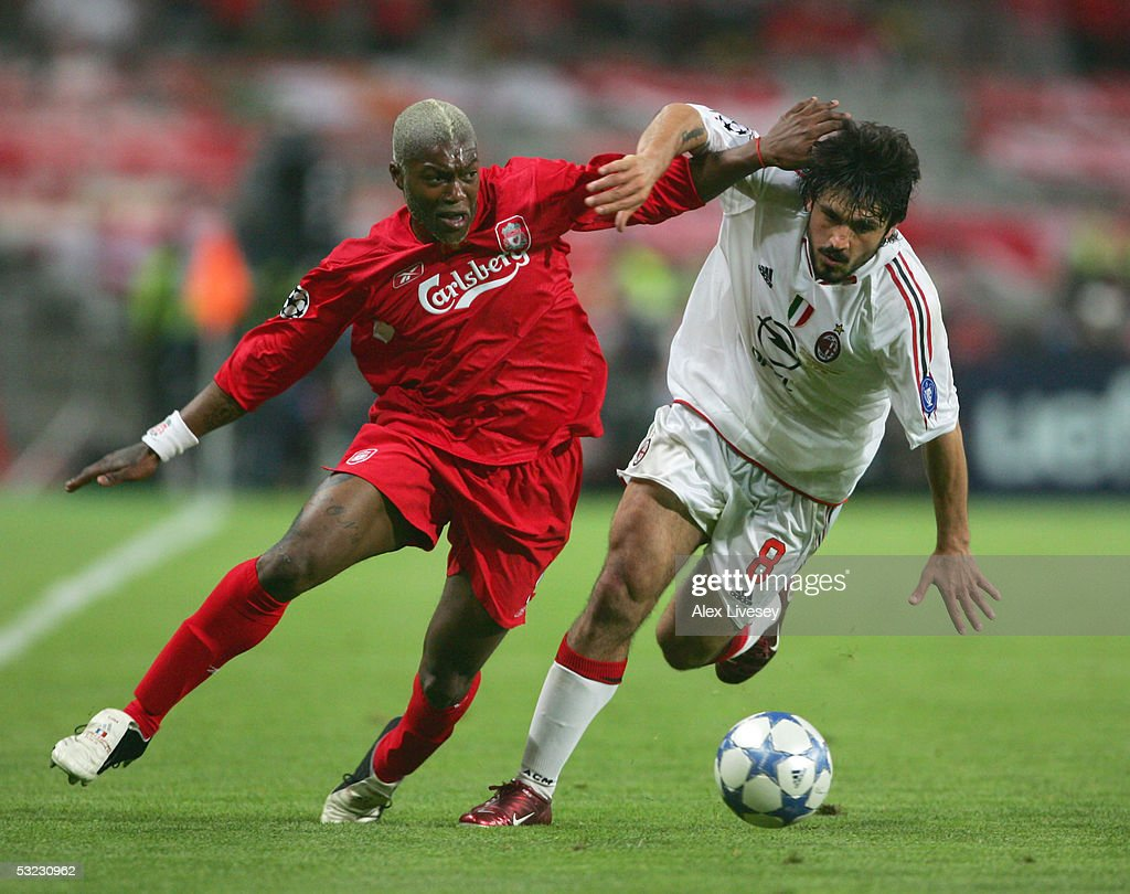 Djibril Cisse of Liverpool battles with Gennaro Gattuso of Milan during the European Champions League final between Liverpool and AC Milan on May 25, 2005 at the Ataturk Olympic Stadium in Istanbul, Turkey.