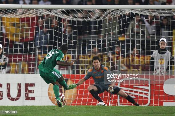 Djibril Cisse' of Panathinaikos scores from a penalty during the UEFA Europa League Round of 32 2nd leg match between AS Roma and Panathinaikos on...