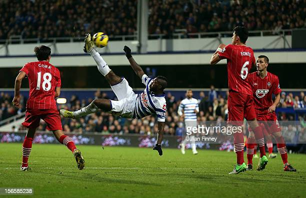 Djibril Cisse of QPR attempts an over head kick during the Barclays Premier League match between Queens Park Rangers and Southampton at Loftus Road...