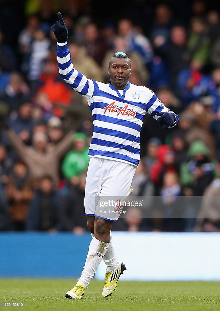 Djibril Cisse of Queens Park Rangers celebrates his goal during the Barclays Premier League match between Queens Park Rangers and Reading at Loftus Road on November 4, 2012 in London, England.