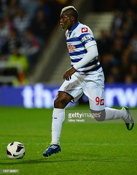 Djibril Cisse of Queens Park Rangers in action during the Barclays Premier League match between Queens Park Rangers and West Ham United at Loftus...