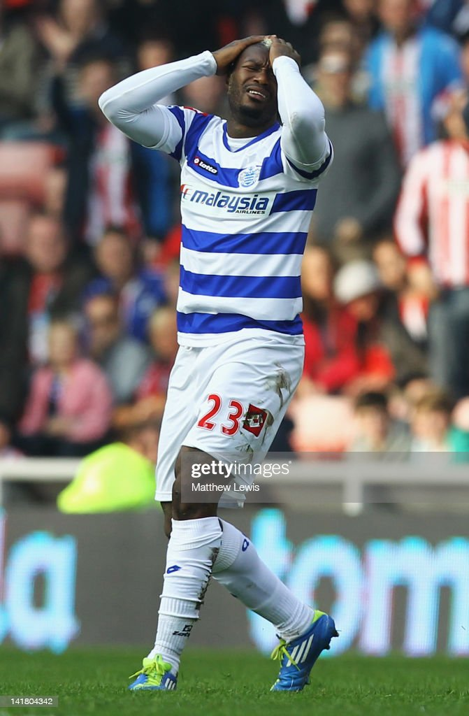 Djibril Cisse of Queens Park Rangers looks on, after he is sent off from the challenge on Fraizer Campbell of Sunderland during the Barclays Premier League match between Sunderland and Queens Park Rangers at Stadium of Light on March 24, 2012 in Sunderland, England.