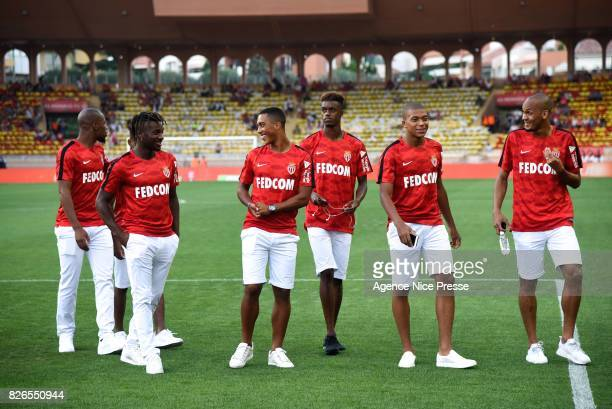 Djibril Sidibe Allan Saint Maximin Youri Tielemans Adama Diakhaby Kylian Mbappe and Fabinho of Monaco during the Ligue 1 match between AS Monaco and...