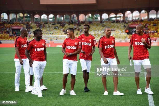 Djibril Sidibe Allan Saint Maximin Youri Tielemans Adama Diakhaby Kylian Mbappe and Fabinho of Monaco during the Ligue 1 match between AS Monaco and...
