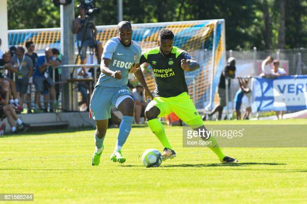Djibril Sidibe and Jurgen Locadia during the friendly match between As Monaco and PSV Eindhoven on July 16 2017 in Le Chable Switzerland