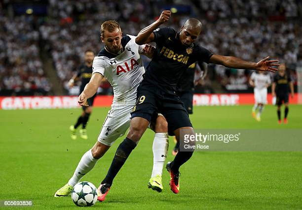 Djibril Sidibe of AS Monaco holds off Harry Kane of Tottenham Hotspur during the UEFA Champions League match between Tottenham Hotspur FC and AS...