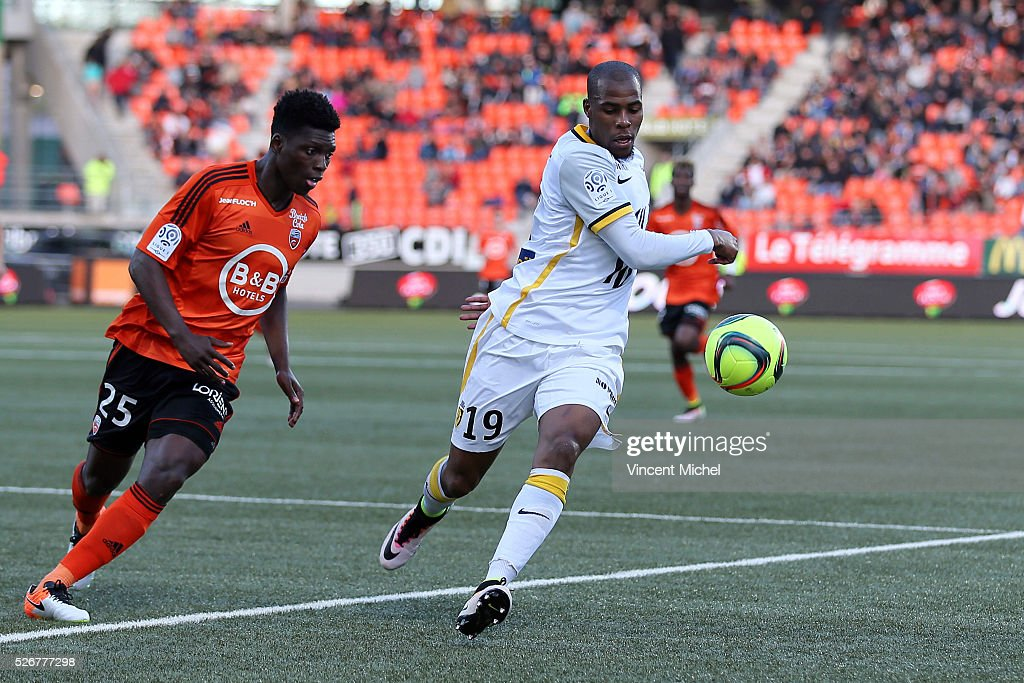 Djibril Sidibe of Lille during the French Ligue 1 match between Fc Lorient and Lille OSC at Stade du Moustoir on April 30 2016 in Lorient France