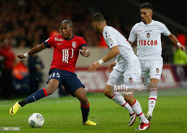 Djibril Sidibe of Lille in action during the French Ligue 1 match between OSC Lille and AS Monaco at the Grand Stade Metropole Villeneuved'Ascq on...