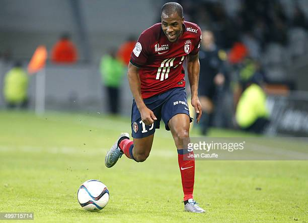 Djibril Sidibe of Lille in action during the French Ligue 1 match between Lille OSC and AS SaintEtienne at Stade Pierre Mauroy on December 2 2015 in...