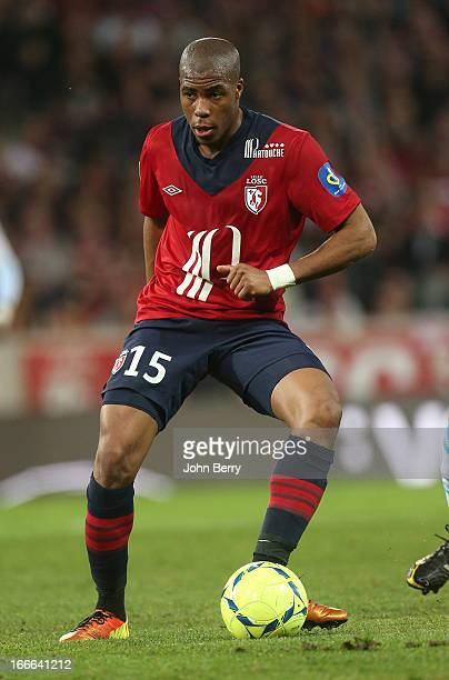 Djibril Sidibe of Lille in action during the Ligue 1 match between Lille OSC LOSC and Olympique de Marseille OM at the Grand Stade Lille Metropole on...