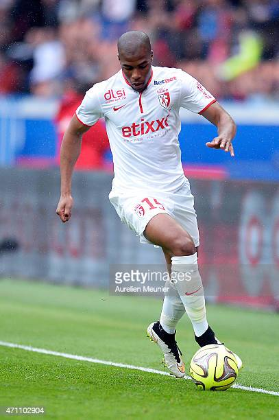 Djibril Sidibe of Llosc Lille in action during the Ligue 1 game between Paris Saint Germain and Llosc Lille at Parc des Princes on April 25 2015 in...