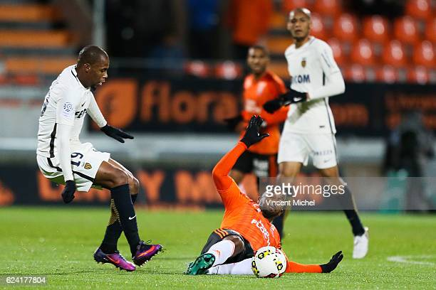 Djibril Sidibe of Monaco and Cafu of Lorient during the Ligue 1 match between Fc Lorient and As Monaco at Stade du Moustoir on November 18 2016 in...