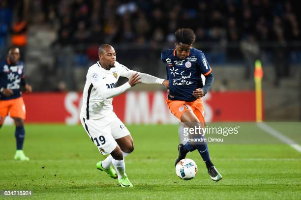 Djibril Sidibe of Monaco and Isaac Mbenza of Montpellier during the French Ligue 1 match between Montpellier and Monaco at Stade de la Mosson on...