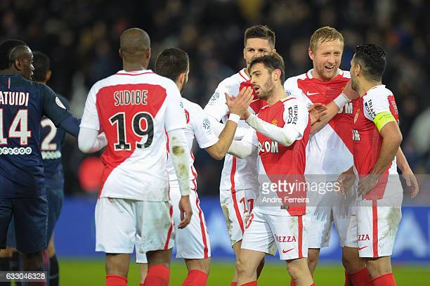 Djibril Sidibe of Monaco and Joao Moutinho of Monaco and Guido Carrillo of Monaco and Kamil Glik of Monaco and Bernardo Silva of Monaco and Radamel...