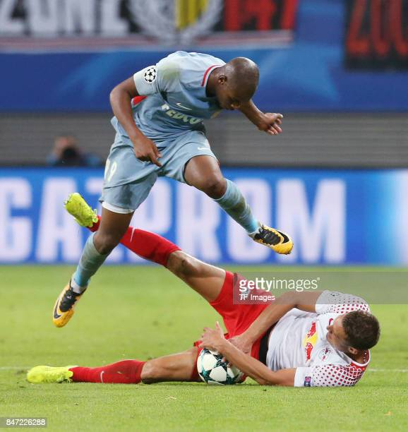 Djibril Sidibe of Monaco and Stefan Ilsanker of Leipzig battle for the ball during the UEFA Champions League group G match between RB Leipzig and AS...