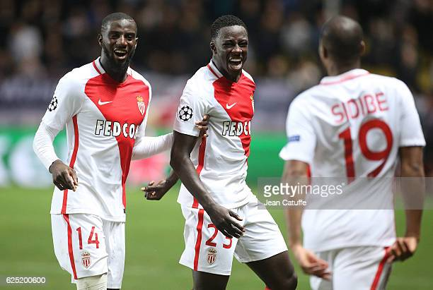 Djibril Sidibe of Monaco celebrates his goal with Tiemoue Bakayoko and Benjamin Mendy during the UEFA Champions League match between AS Monaco FC and...