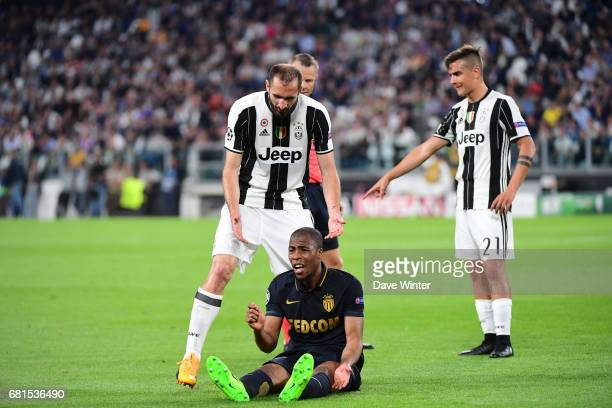 Djibril Sidibe of Monaco complains to the assistant referee about a foul by Giorgio Chiellini of Juventus during the Uefa Champions League match semi...