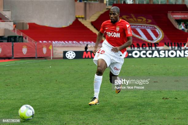 Djibril Sidibe of Monaco during the Ligue 1 match between AS Monaco and Strasbourg at Stade Louis II on September 16 2017 in Monaco