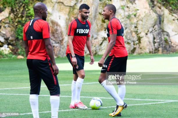 Djibril Sidibe Rachid Ghezzal and Kylian Mbappe of Monaco during training session of As Monaco on August 11 2017 in Monaco Monaco