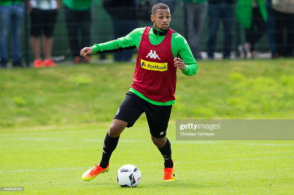 Djibril Sow of Borussia Moenchengladbach controls the ball during a training session at Borussia-Park on June 29, 2016 in Moenchengladbach, Germany.
